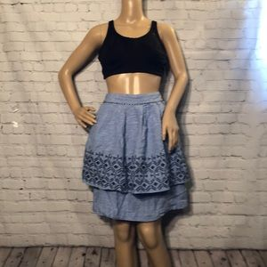 Odille Anthropologie Tiered Linen Skirt Chambray